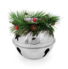 DUE ESSE Božični svečnik Ø 14 cm - zvonček z vejico, srebrn