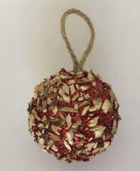 DUE ESSE 8 db piros karácsonyi gömb készlet, fa hasábokkal, Ø 6 cm