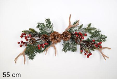 DUE ESSE Božična smrekova vejica z rogovjem, 55 cm
