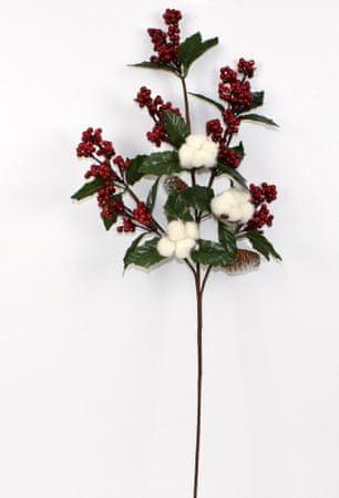 DUE ESSE Božićna grančica s cvjetovima pamuka, 80 cm