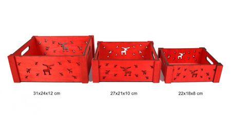 DUE ESSE Komplet od 3 drvene crvene kutije s božićnim motivom