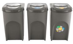 Prosperplast Sada 3 odpadkových košů SORTIBOX Šedý kámen 392x293x620 35L s šedým víkem a nálepkami