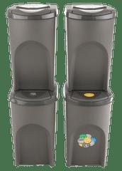 Prosperplast Sada 4 odpadkových košů SORTIBOX Šedý kámen 392x293x680 s šedým víkem a nálepkami