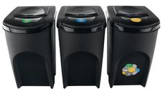 Prosperplast Sada 3 odpadkových košov SORTIBOX ANTRACIT 392x293x620 / 35L s čiernym vekom a nálepkami