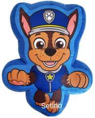 """SETINO 3D dětský polštář """"Tlapková Patrola - Chase"""" - modrá"""