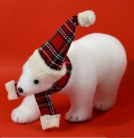 DUE ESSE Božićni bijeli medvjed sa šalom i kapom 28 cm, tip 2