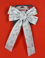 DUE ESSE kokarda bożonarodzeniowa biała 36 cm ze srebrnym wzorem