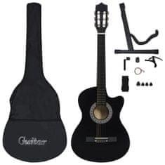 shumee 12dílný set folková akustická kytara se 6 strunami černá 38''