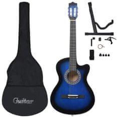 shumee 12dílný folkový akustický kytarový set se 6 strunami modrý 38''