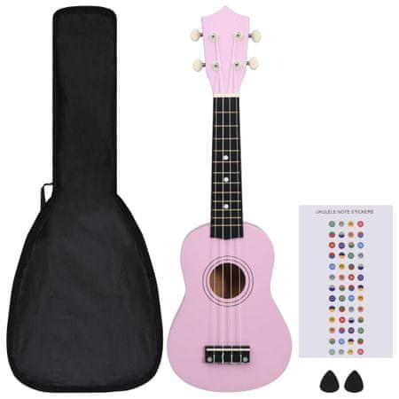 """shumee Otroški ukulele soprano s torbo roza 21"""""""