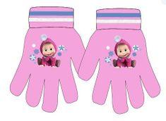 Eplusm Disney dievčenské prstové rukavice - Masha - ružová - 12x16cm