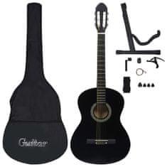 shumee 12dílný set klasická kytara pro začátečníky černá 4/4 39''