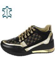Čierno-zlaté štýlové tenisky s monogramom OL K2129