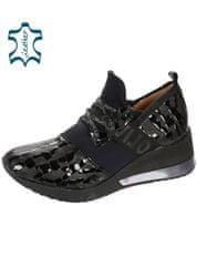 Čierne dámske kožené tenisky s kroko vzorom DTE2113 - OLIVIA SHOES