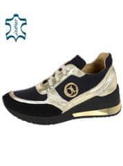 Zlato-čierne kožené dámske tenisky na čiernej podošve DTE3063 - OLIVIA SHOES