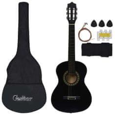 shumee 8dílný set klasická kytara pro začátečníky černá 1/2 34''