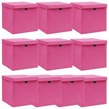 shumee 10 db rózsaszín szövet tárolódoboz fedéllel 32 x 32 x 32 cm