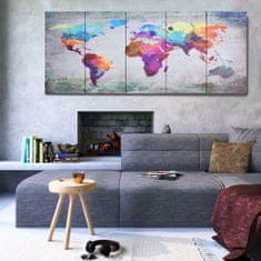 shumee Sada nástenných obrazov na plátne Mapa sveta rôznofarebná 200x80 cm