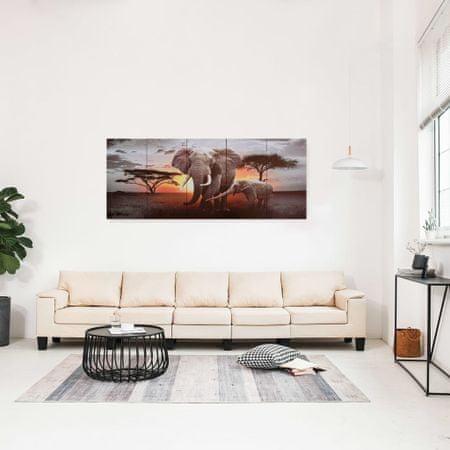 shumee Zestaw obrazów przedstawiający słonie, kolorowy, 150x60 cm