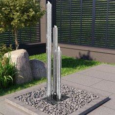 shumee ezüstszínű rozsdamentes acél kerti szökőkút 48 x 34 x 153 cm