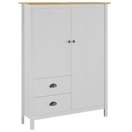 shumee Hill Range fehér 2 ajtós tömör fenyő ruhásszekrény 99x45x137 cm