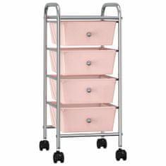 shumee Mobilní úložný vozík se 4 zásuvkami růžový plastový