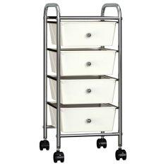 shumee Mobilný úložný vozík so 4 zásuvkami biely plastový