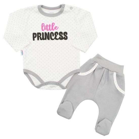 NEW BABY 2-dílná bavlněná souprava New Baby Little Princess Barva: Šedá, Velikost: 68 (4-6m)