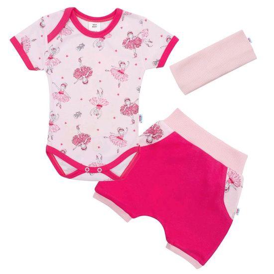 NEW BABY 3-dílná letní bavlněná souprava New Baby Perfect Summer baletka Barva: Růžová, Velikost: 62 (3-6m)