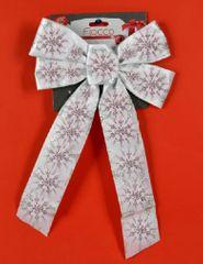 DUE ESSE kokarda bożonarodzeniowa biała 36 cm ze srebrnym wzorem 2