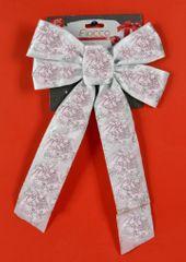 DUE ESSE kokarda bożonarodzeniowa biała 36 cm ze srebrnym wzorem 3