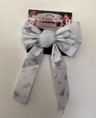 DUE ESSE kokarda bożonarodzeniowa biała 36 cm ze srebrnym wzorem 4