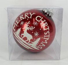 DUE ESSE Piros karácsonyi gyöngyházfényű gömb, Ø 15 cm, dekor