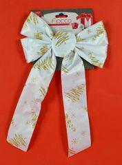 DUE ESSE kokarda bożonarodzeniowa biała 36 cm ze złotym wzorem 2