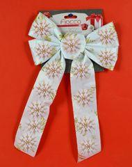 DUE ESSE kokarda bożonarodzeniowa biała 36 cm ze złotym wzorem 3