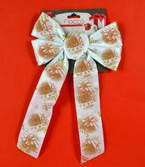 DUE ESSE kokarda bożonarodzeniowa biała 36 cm ze złotym wzorem 4