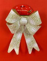 DUE ESSE kokarda bożonarodzeniowa złota z brokatem i białą koronką 30 cm wzór 1
