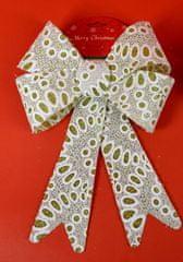 DUE ESSE kokarda bożonarodzeniowa złota z brokatem i białą koronką 30 cm wzór 3