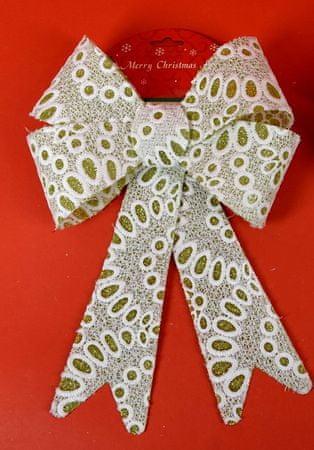 DUE ESSE zlata božična pentlja z bleščicami in belo čipko, vzorec 3, 30 cm