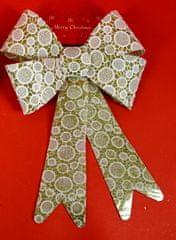 DUE ESSE kokarda bożonarodzeniowa złota z brokatem i białą koronką 30 cm wzór 4