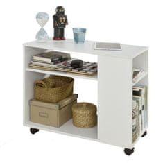 SoBuy FBT34-W odkládací stolek na noviny, konferenční stolek, noční stolek s kolečky