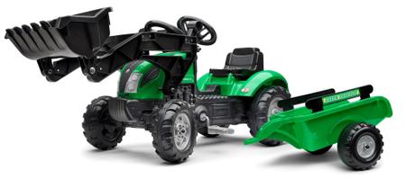 Falk Traktor na pedala Green, zelen s prikolico