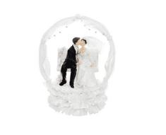 Paris Dekorace Svatební figurky ženich a nevěsta na lavičce