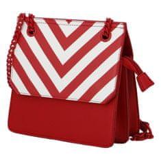 DIANA & CO Moderní dámská koženková kabelka Happy Stripes, červená