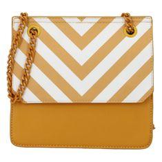 DIANA & CO Moderní dámská koženková kabelka Happy Stripes, žlutá