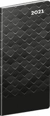 Diář 2021 kapesní: Černý kov, plánovací měsíční, 8 × 18 cm