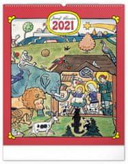 Kalendář 2021 nástěnný: Josef Lada – Zvířátka, 48 × 56 cm