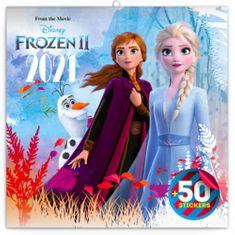 Kalendář 2021 poznámkový: Frozen – Ledové království II, s 50 samolepkami, 30 × 30 cm