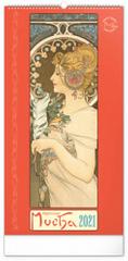Kalendář 2021 nástěnný: Alfons Mucha, 33 × 64 cm