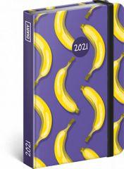 Diář 2021: Banány - týdenní, 11 × 16 cm